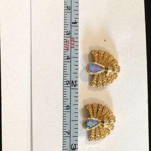 Gold blue rhinestone pierced Vintage